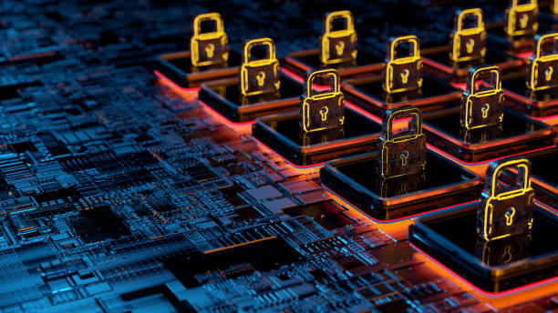 Digital network  security concept Digital background depicting innovative technologies in security systems, data protection Internet technologies cyber security stock pictures, royalty-free photos & images