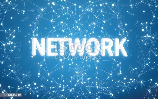 istock Digital network text on blue network background 1029993716