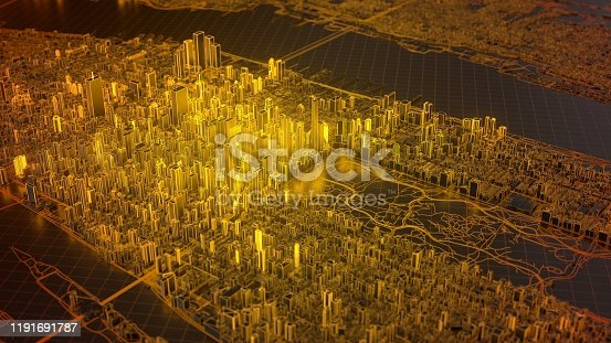 digital new york city with hot glowing edges. suitable for technology, future and virtual reality themes. 3d illustration