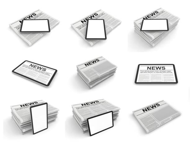 Digitale News-Konzept-Sammlung mit Business-Zeitung auf Tablet-PC-Bildschirm. 3D-Satz – Foto