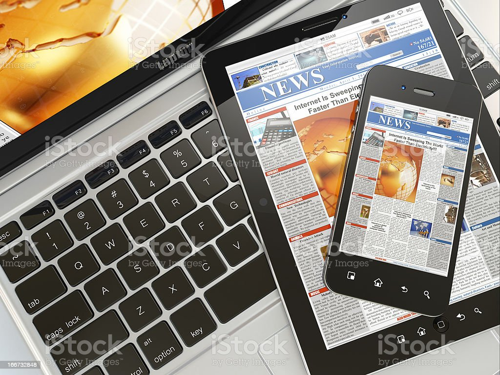 Digital news. Laptop, mobile phone and tablet pc Digital news. Laptop, mobile phone and digital tablet pc. 3d Communication Stock Photo
