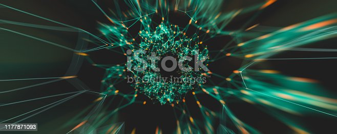istock Digital Nodes and Connection Paths. 1177871093