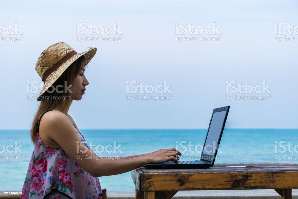 Digital nomad working online stock photo