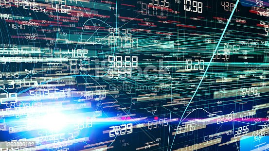 Digital Numbers flowing in a digital high tech environment