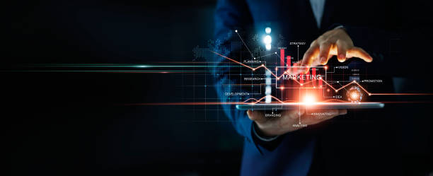 Digital online marketing, Businessman using tablet and analysis sale data graph growth on modern interface icons on strategy, Solution analysis and development contents on global network connection. stock photo