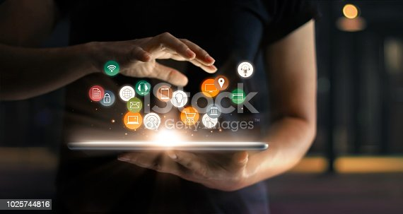 istock Digital online marketing commerce sale concept. Woman using tablet payments online shopping and icon customer network connection on hologram virtual screen, m-banking and omni channel. 1025744816