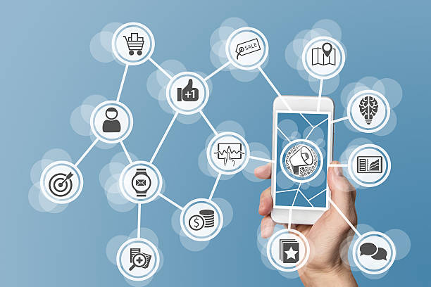 Digital online marketing enabled by mobile phone stock photo