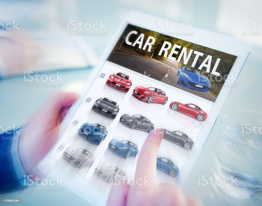 Digital Online Search Car Rental Concept stock photo
