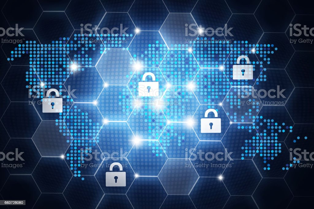 Digital online security design, concept with padlock icons around the globe stock photo