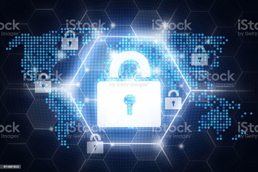 Digital online security design stock photo