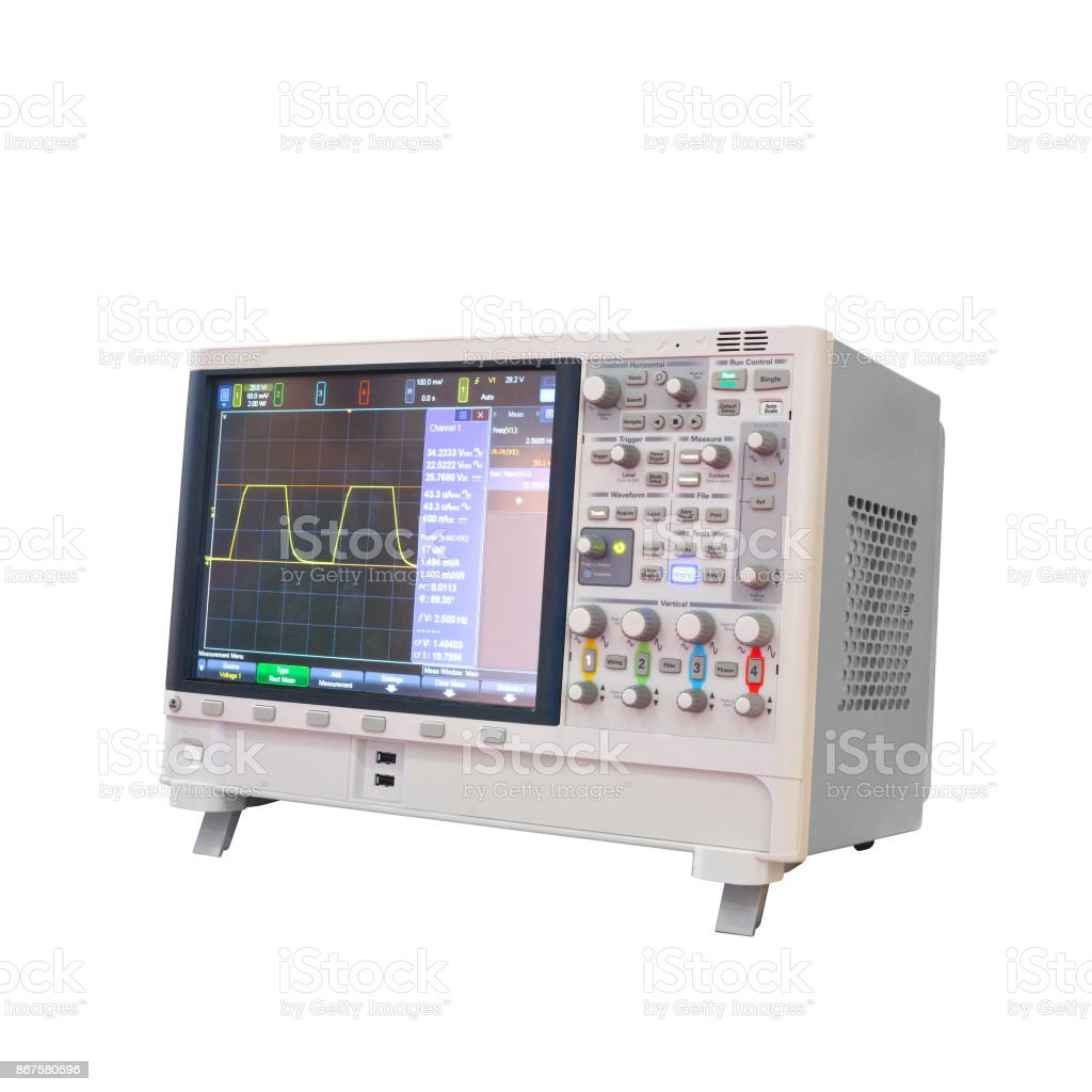 Digital oscillograph isolated on white background, power analyzer 3 phaze stock photo