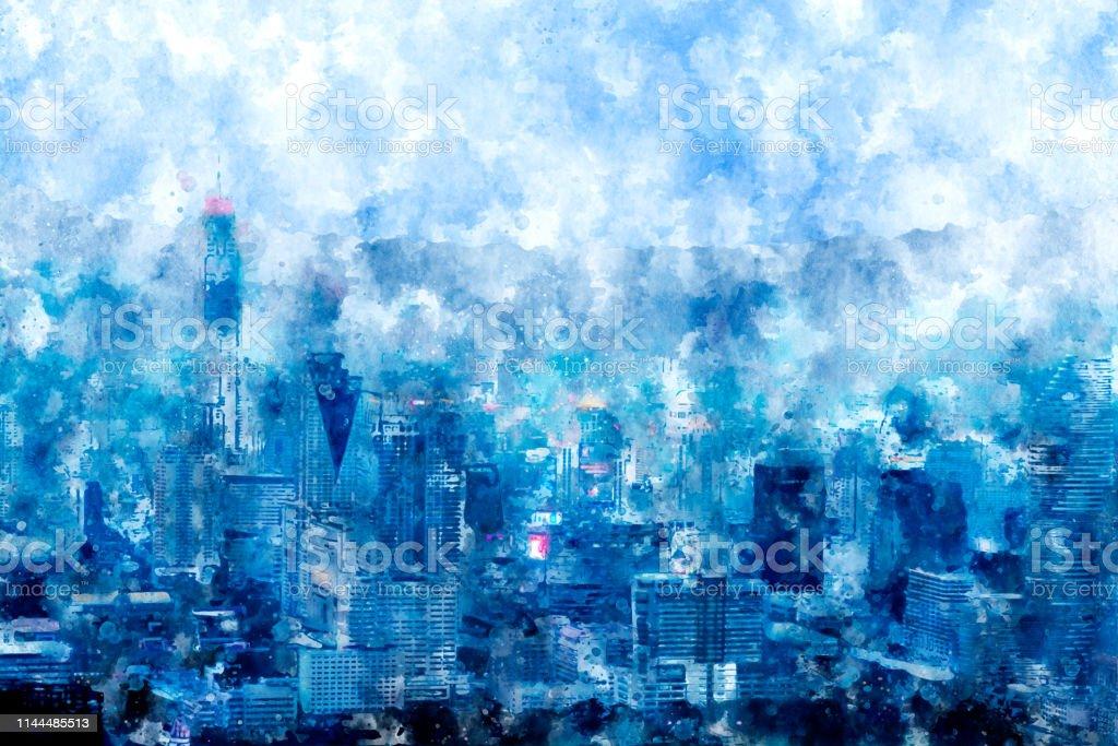 Digital painting of buildings in big city in multicolor