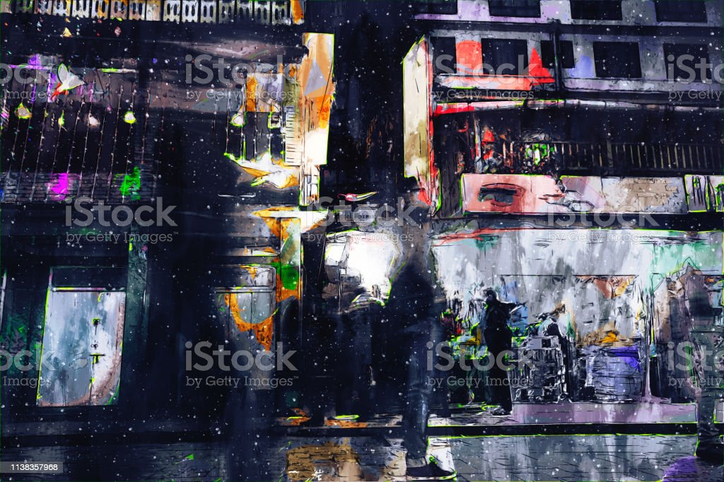 Digital painting of buildings in dark tone, city in night time with...