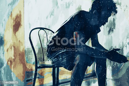 istock Digital painting of sad man thinking something in bed room, illustration of depression of people 1144066573