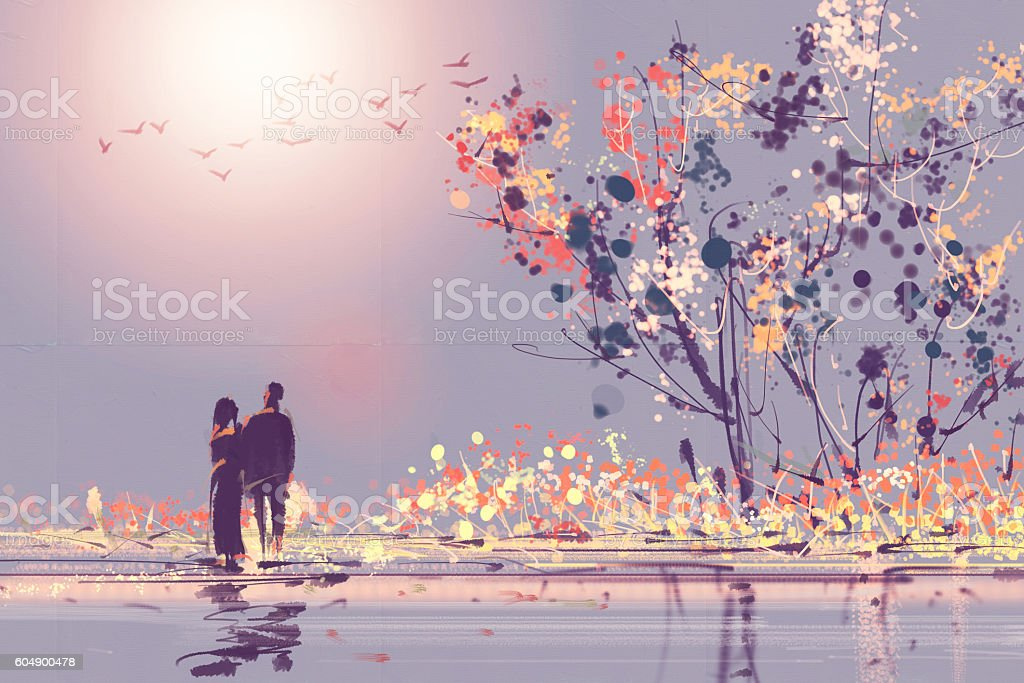 Digital painting style Oil couples stood watching sunsets stock photo