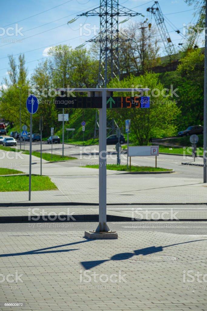 Digital parking sign royalty-free stock photo