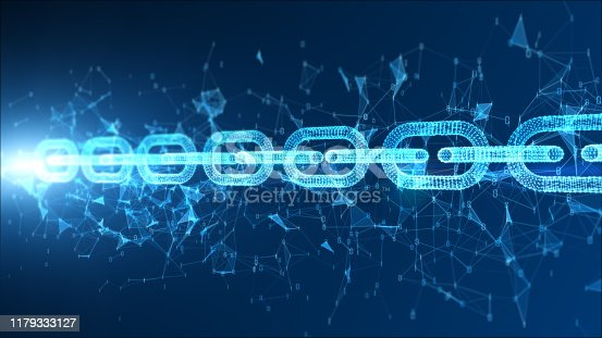 istock Digital particle blockchain network connection concept 1179333127