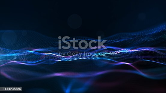 Digital Particles Wave, Digital Cyberspace Background