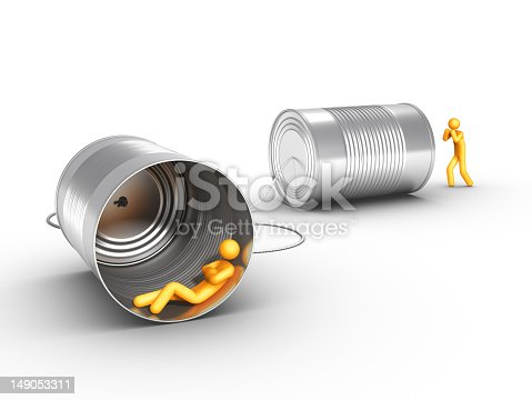 istock Digital people communicating through tin cans  149053311