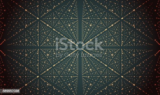 istock Digital perspective grid with glowing stars. Futuristic infinity illusion of 589952038