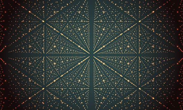 Digital perspective grid with glowing stars. Futuristic infinity illusion of stock photo