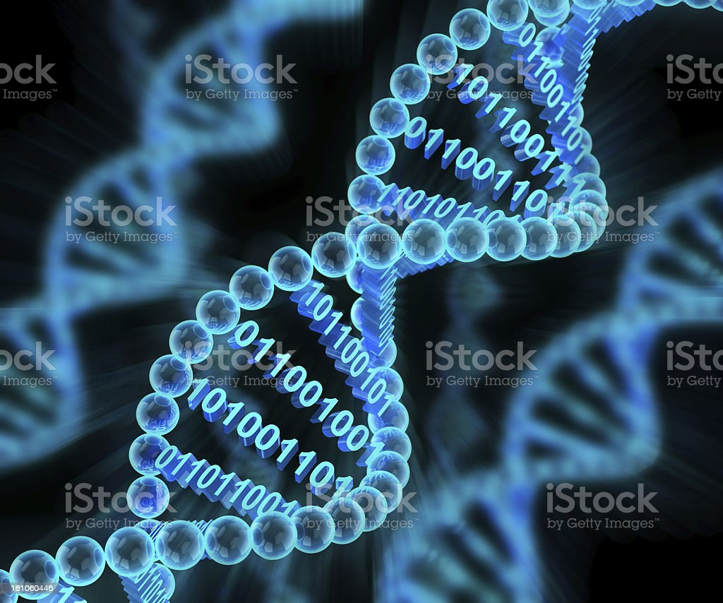 Digital DNA molecules with binary code, 3d render Abstract Stock Photo