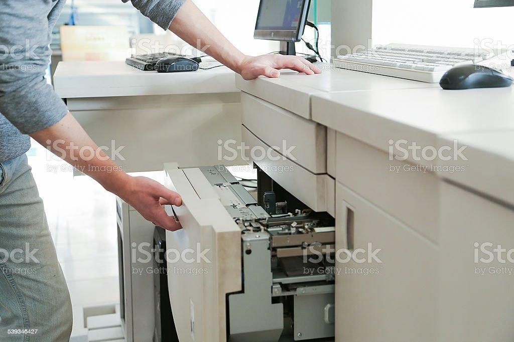 digital printing machine stock photo