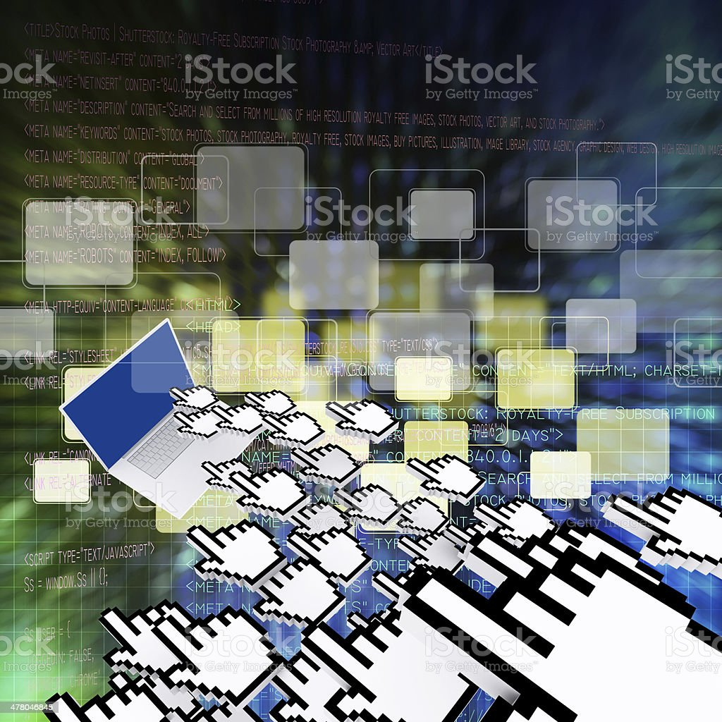 Digital program code and buttons background royalty-free stock photo