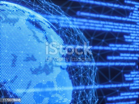 istock Digital program code and globe with a communication concept 1170078448