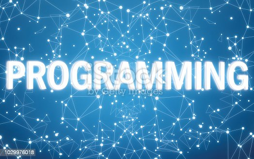 istock Digital programming text on blue network background 1029976018