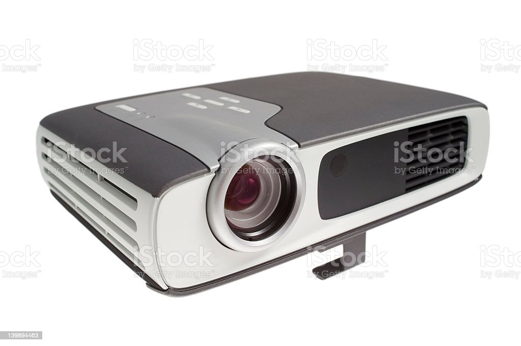 A digital projector on a white background stock photo
