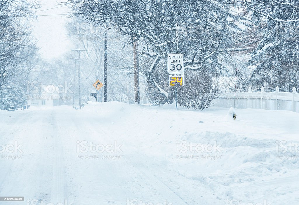 Digital Radar Speed Warning Road Sign in Winter Snow Blizzard stock photo