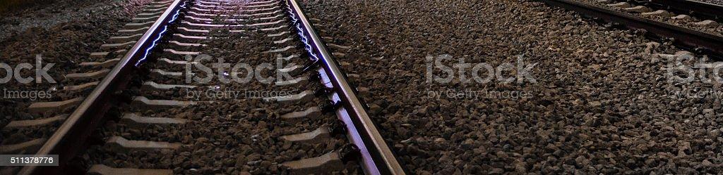 Digital rails, analog rails stock photo