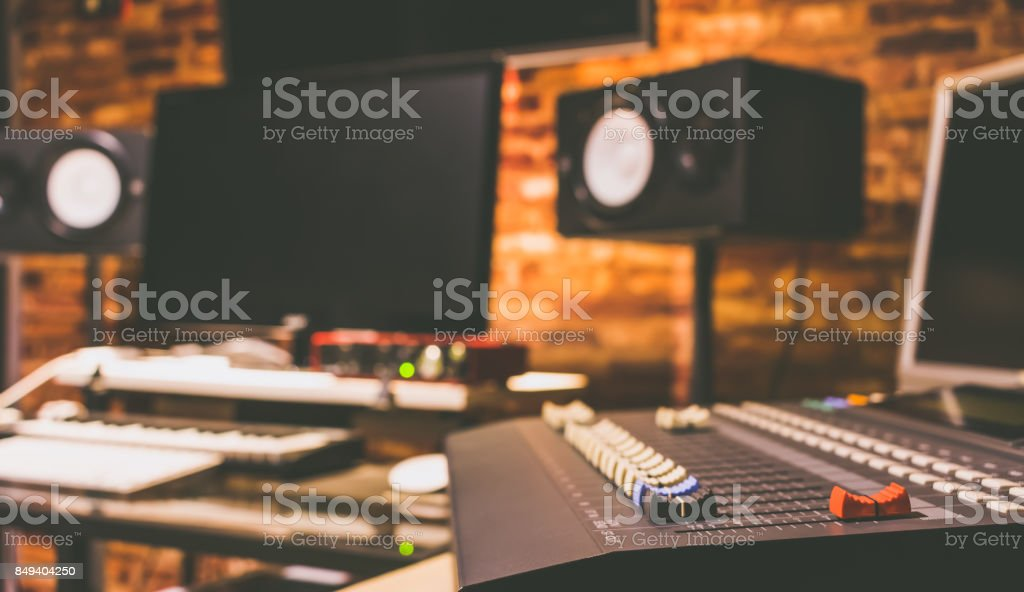 digital recording, broadcasting, editing & post production studio, music background stock photo