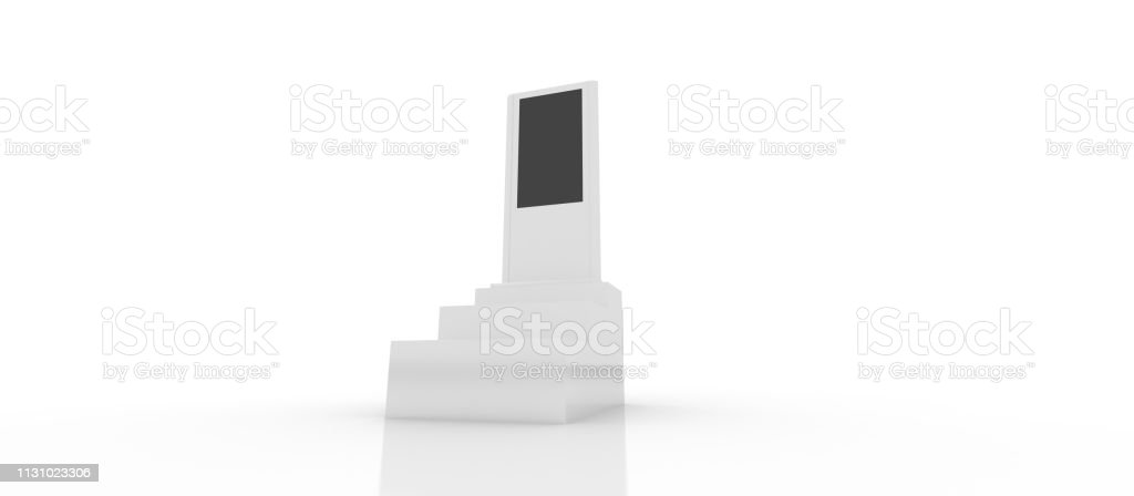 Digital Retail Display Kiosk Stock Photo - Download Image