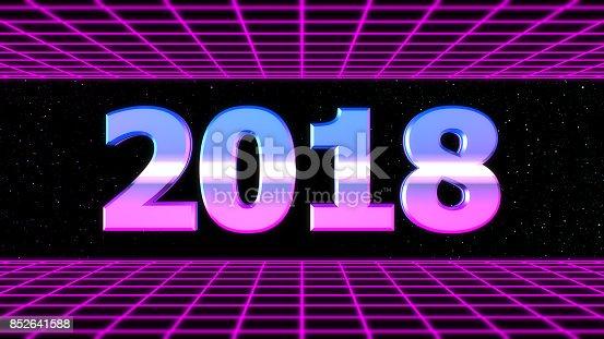 istock Digital retro 2018 neon background 852641588