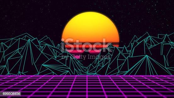 istock Digital retro sunset 80xx gaming neon background 699508936