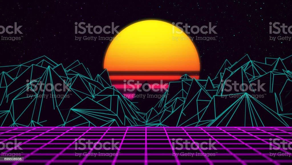 Digitalen Retro-Sonnenuntergang 80xx Gaming-Neon Hintergrund – Foto