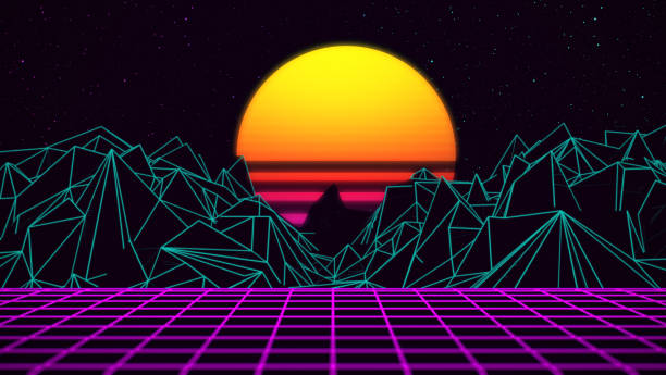 Digital retro sunset 80xx gaming neon background stock photo