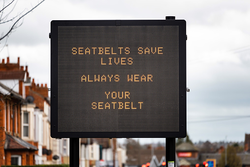 istock digital road traffic information display message seatbelts save lives always wera your seatbelt on road in uk 1139082496