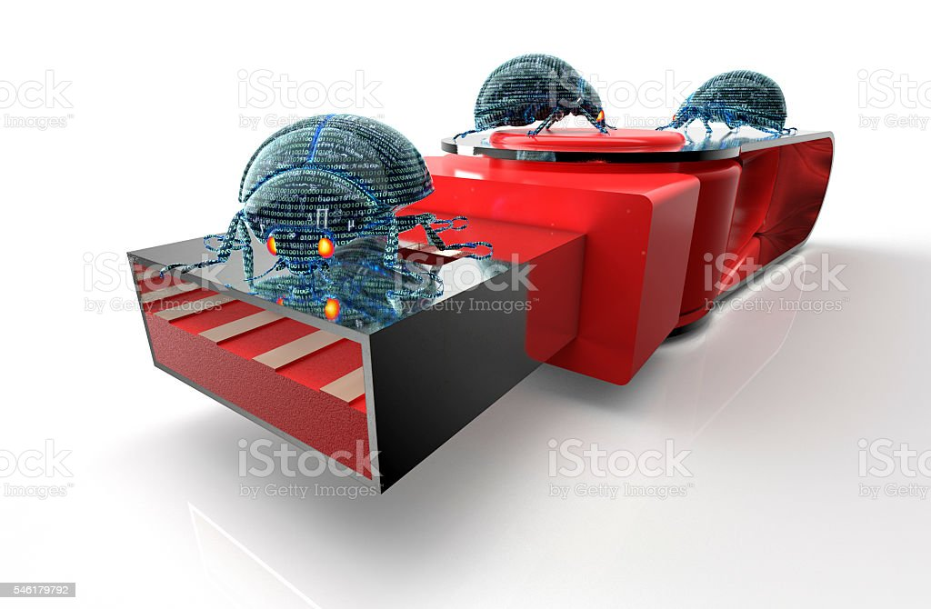 digital safety concept computer bugs on usb stick stock photo