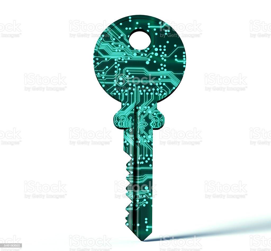 Concepto de seguridad electrónico digital llave aislado sobre blanco - foto de stock