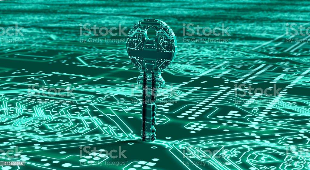 Concepto de seguridad clave digital en ambiente electrónicos - foto de stock