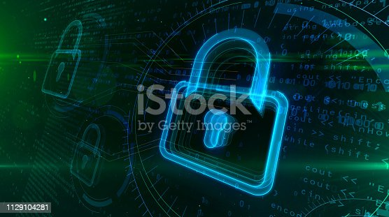 istock Digital safety with padlock symbol 1129104281