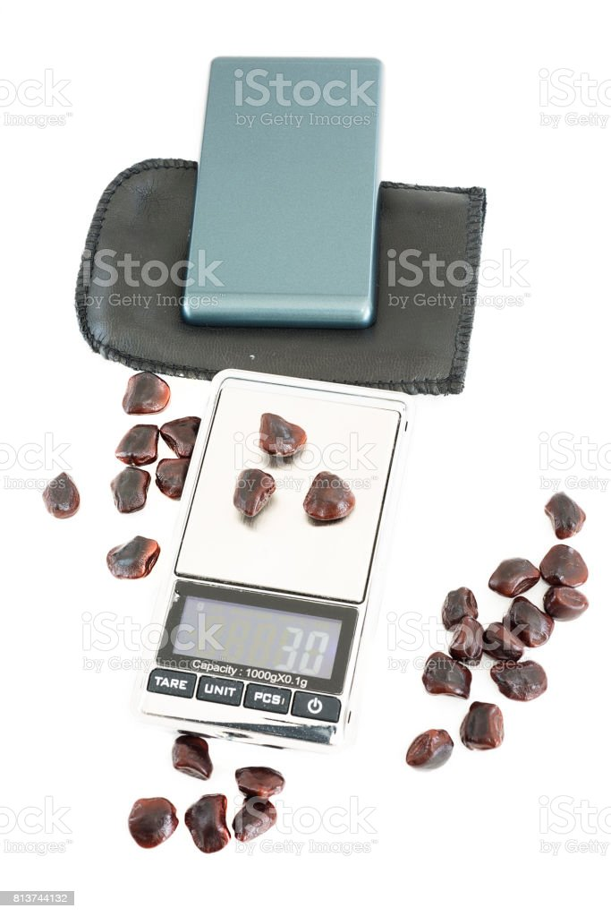 Digital scales isolated on white background stock photo