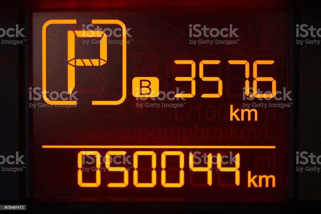 Digital screen in car stock photo