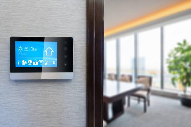 digital screen in modern meeting room stock photo