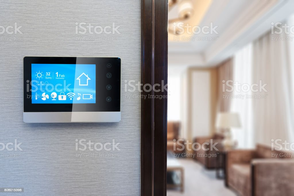 digital screen in smart home stock photo