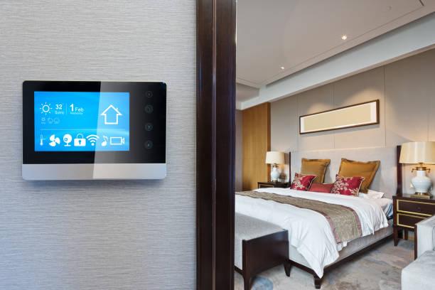 digital screen in smart home stock photo