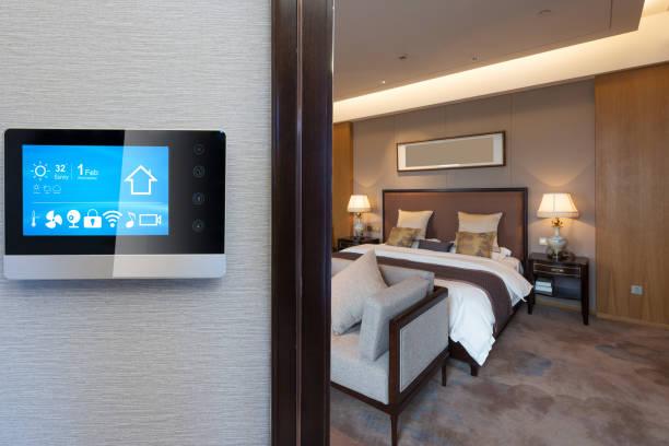 digital screen with luxury bedroom in smart home stock photo